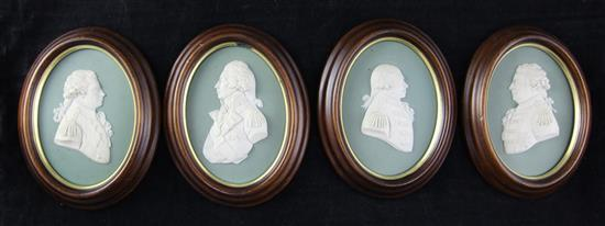A set of four Wedgwood jasper portrait plaques of British Military Commanders, first half 19th century, 14.5cm incl. frames