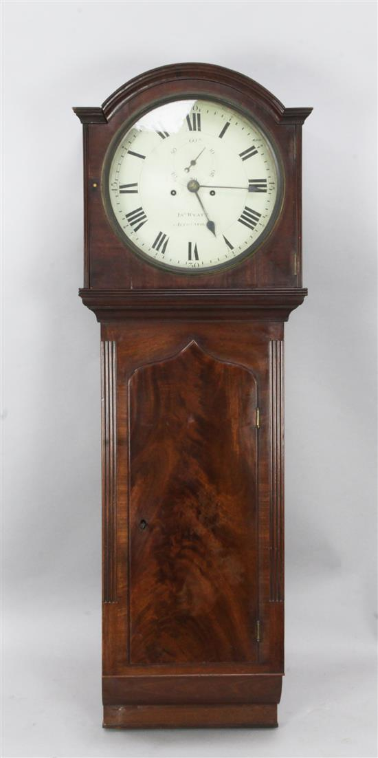 Jno. Wyatt of Altrencham. A Regency mahogany drop dial wall clock, height 4ft 8in.