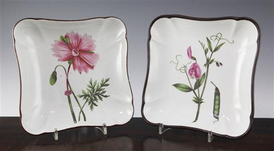 Two pearlware botanical specimen dessert dishes, probably Neale & Co, c.1820, 8.25in.
