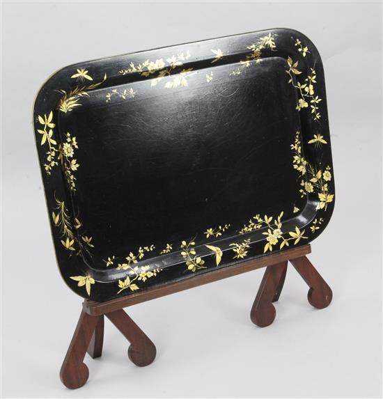 A Regency papier mache tea tray, 31 x 22.5in.