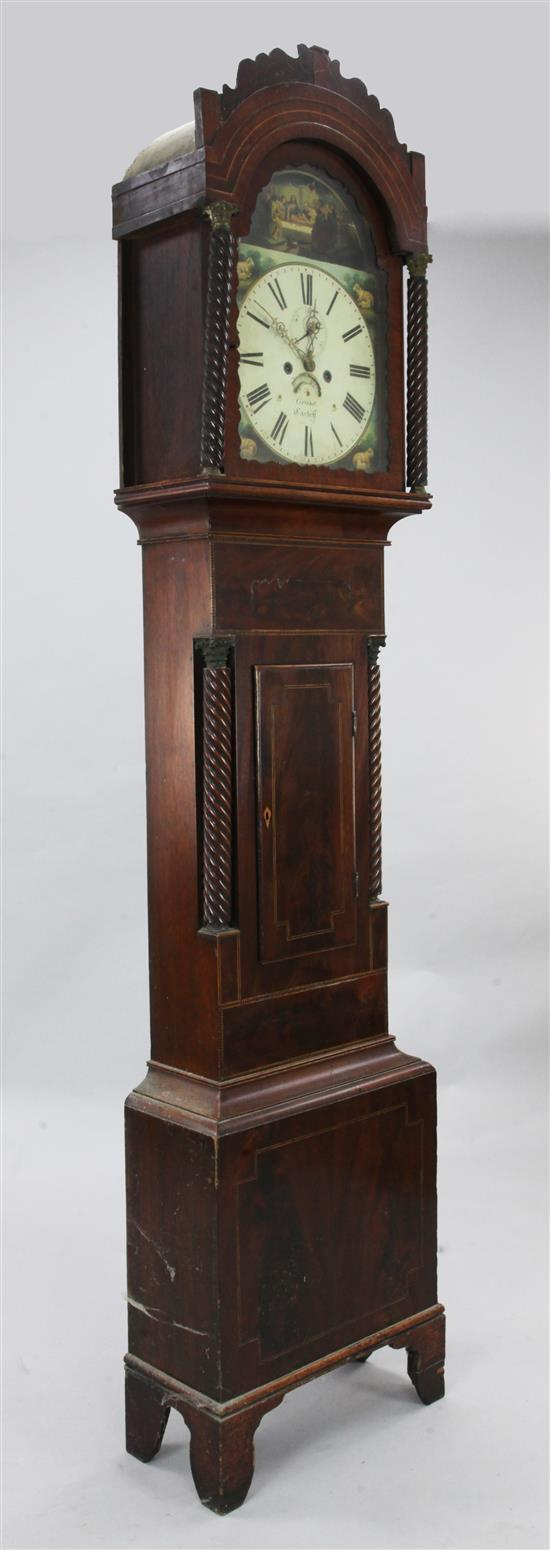Grant of Cardiff. An early 19th century inlaid mahogany eight day longcase clock, 7ft 4in.