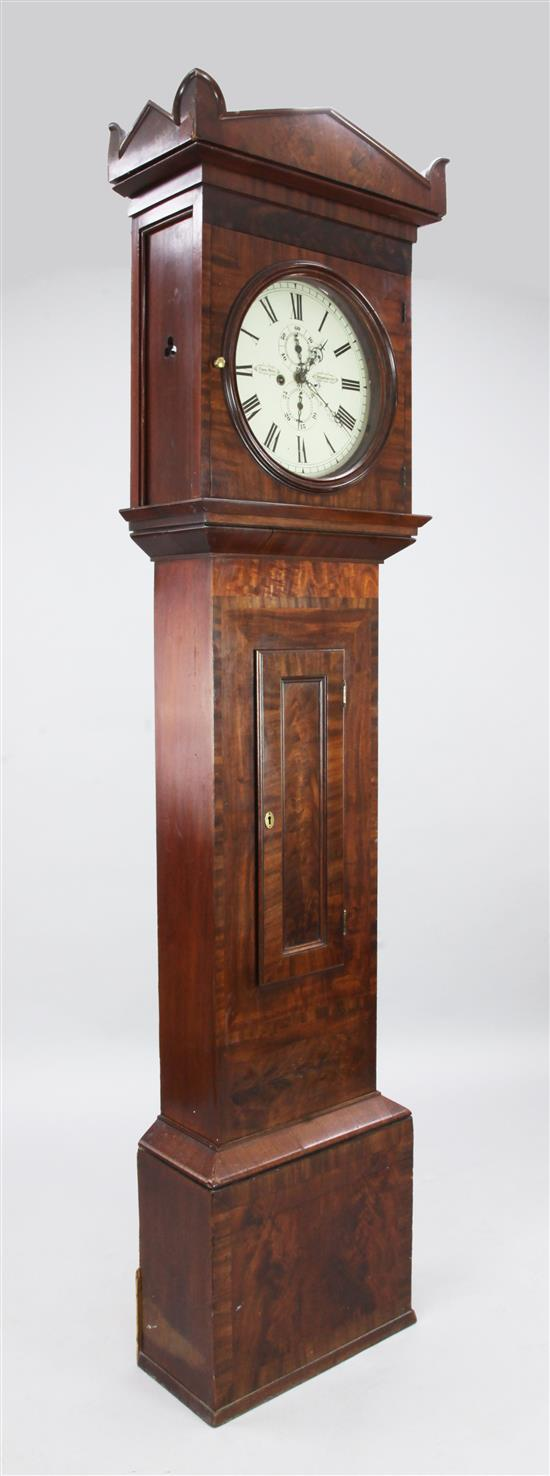 Thomas Hill of Strathaven. An early 19th century mahogany eight day longcase clock, 7ft 5in.