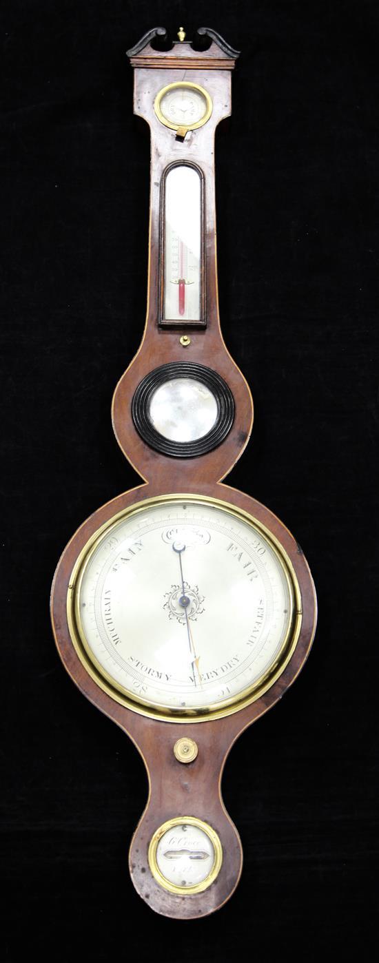 A Regency strung mahogany wheel barometer, by G. Croce of York, 3ft 2in.