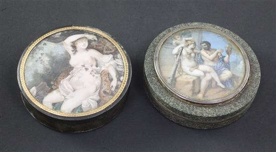 An early 19th century French horn snuff box, 3.5in.