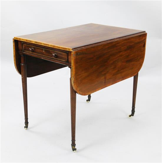 A Regency boxwood strung crossbanded mahogany Pembroke table, W.2ft 9in. H.2ft 5in.