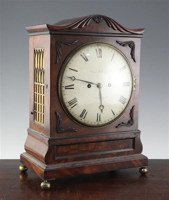 A Regency mahogany hour repeating bracket clock, 16.75in.