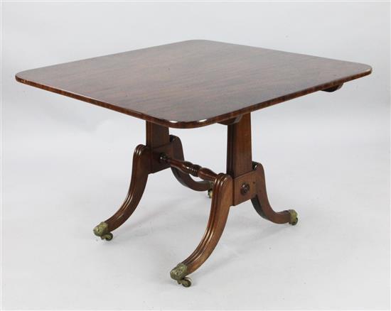 An unusual Regency mahogany breakfast table, W.3ft 4in. D.3ft 3in.