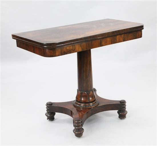 A William IV rosewood card table, W.3ft D.1ft 6in. H.2ft 5in.