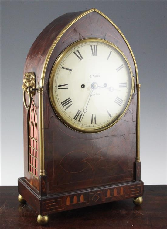 G. Miles of London. A Regency  bracket clock with wall bracket