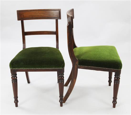 A set of eight Regency mahogany dining chairs, W.1ft 5in. H.2ft 9in.