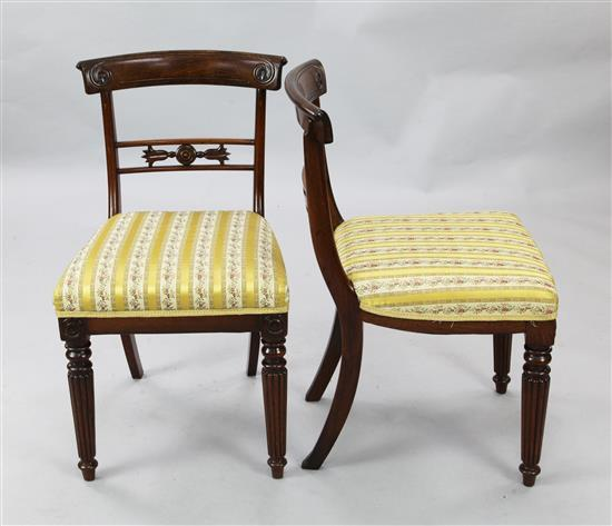 A set of six Regency rosewood dining chairs, W.1ft 7in. H.2ft 8in.