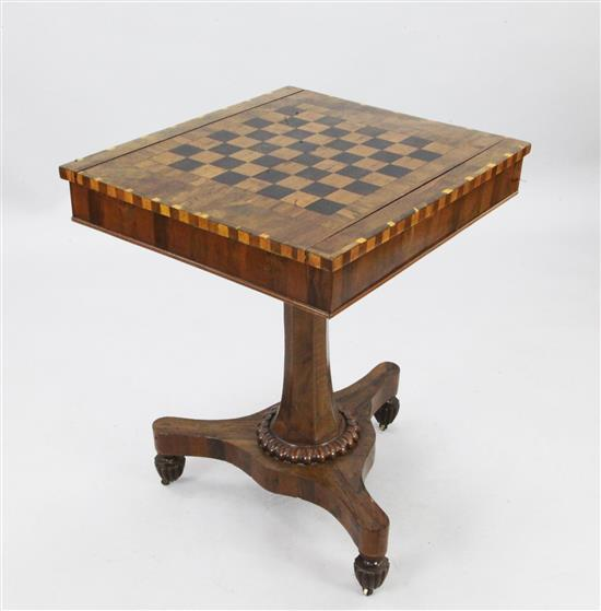 A late Regency Killarneyware crossbanded yew wood games table, W.2ft D.1ft 10in. H.2ft 5in.