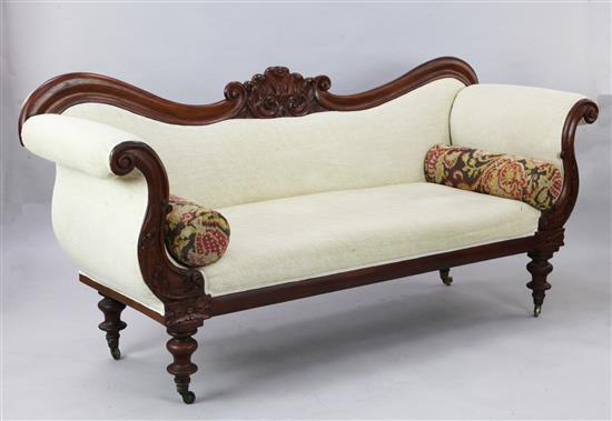 A William IV mahogany scroll end settee, W.7ft H.3ft 4in.