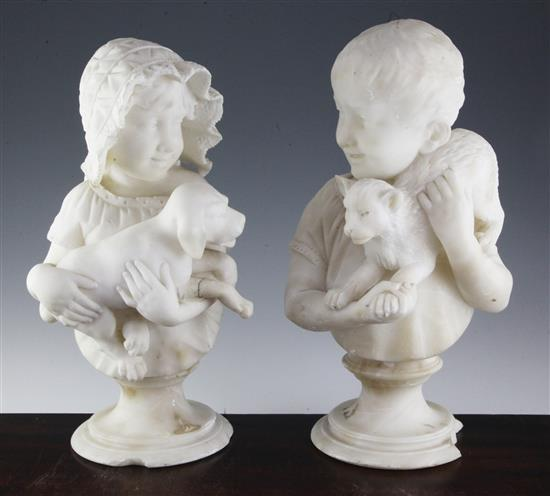 A pair of late 19th century carved alabaster busts of children, 16in.