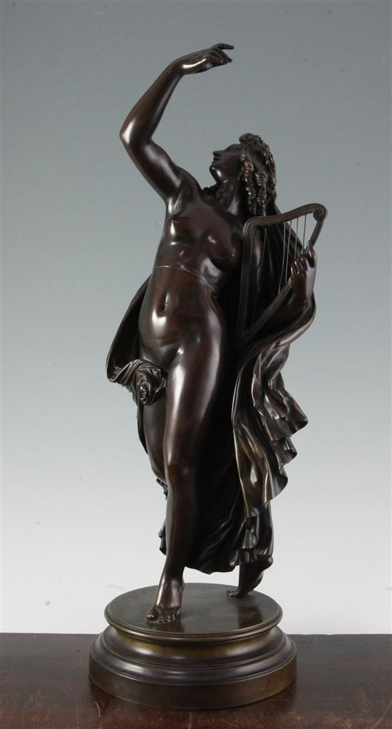 Jean Jacques Pradier (1790-1852). A bronze figure of a muse holding a harp, 'La Poesie Legere' H.21in.