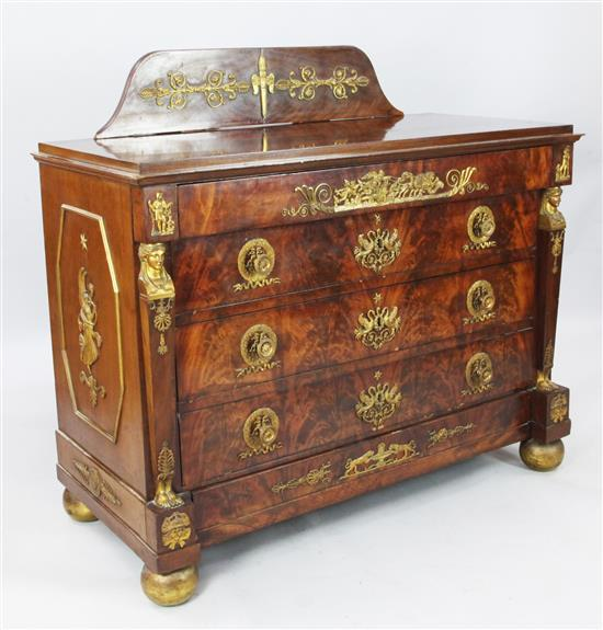An Edwards & Roberts French Empire style ormolu mounted flame mahogany commode, W.4ft 1in. D.1ft 11in. H.3ft 1in.