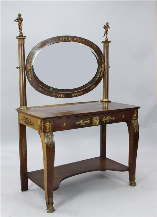 An Edwards & Roberts French Empire style ormolu mounted flame mahogany dressing table, W.3ft 5in. D.1ft 9in. H.5ft 3in.