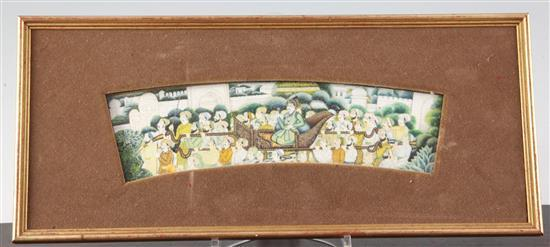 A 19th century Indian gouache on ivory, 2.5 x 9.5in.