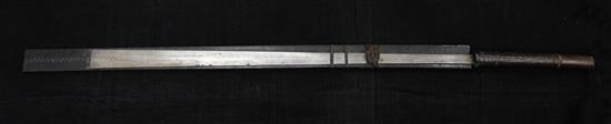 A Naga Dao sword and hardwood scabbard, Assam. 19th century, total length 114.5cm (45in.)