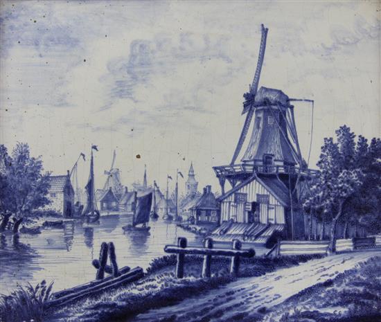 A Delft blue and white landscape plaque, 19th century, 28.5cm x 34.5cm (11.2in. x 13.7in.)