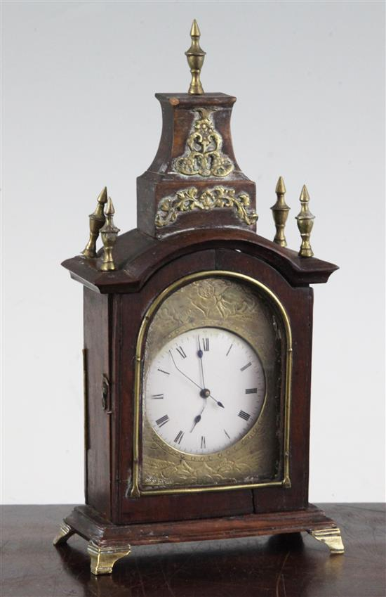 A 19th century Continental mahogany cased miniature bracket timepiece, 8in.