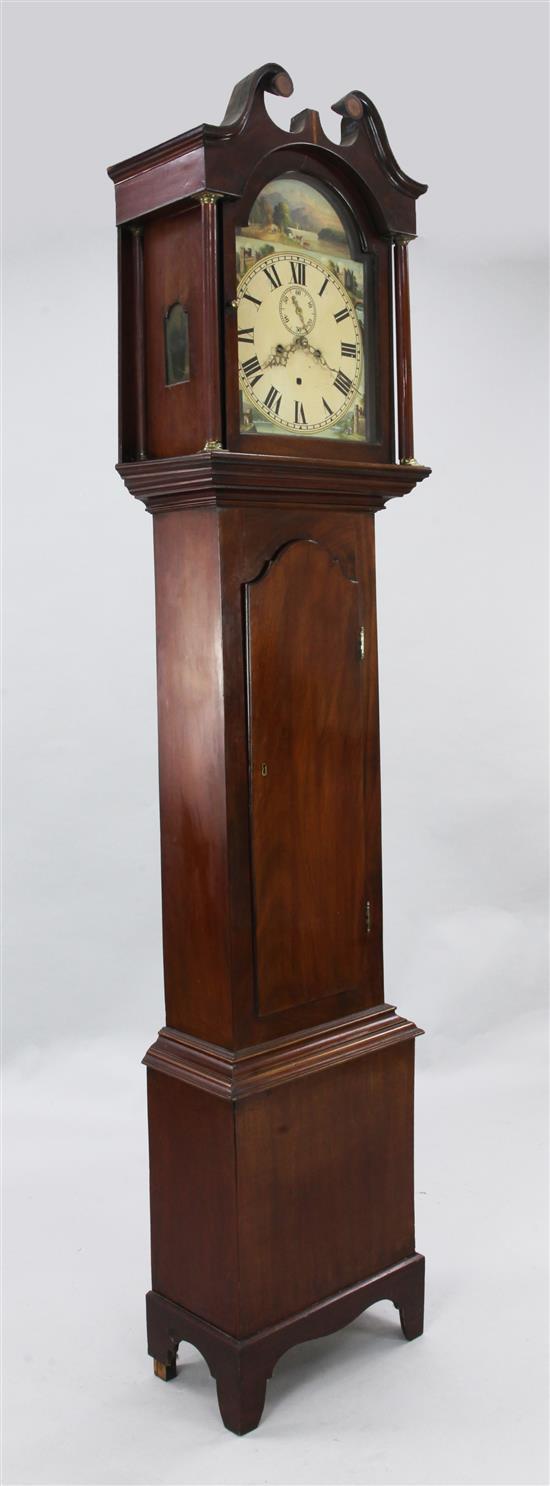 An early 19th century mahogany eight day longcase clock, 7ft