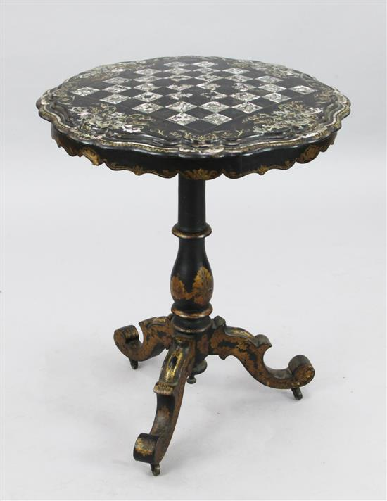 A Victorian papier mache games table, W.2ft 1in. H.2ft 6in.