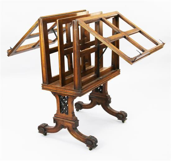 An early Victorian walnut folio stand, W.2ft 3in. H.3ft 5in.