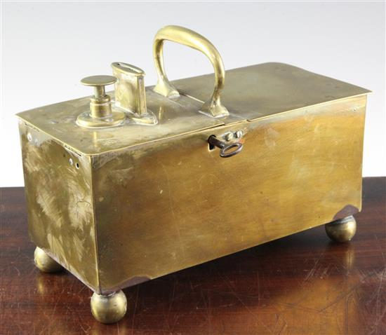 A 19th century 'Rich's Patent' brass tavern 'honesty' box, 9.75in.