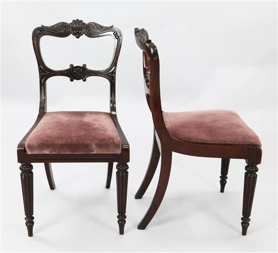 A set of six William IV mahogany buckle back dining chairs, H.2ft 11in.