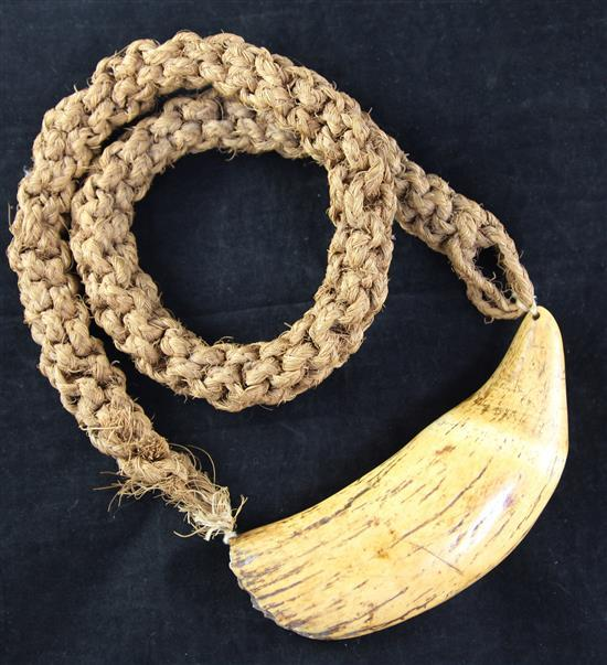 An antique Polynesian whale's tooth Tabua necklace