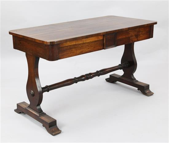 An early Victorian rosewood library table, W.4ft D.2ft H.2ft 4in.