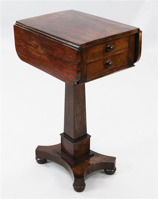 An early Victorian rosewood drop flap work table, W.1ft 5in. H.2ft 4in.