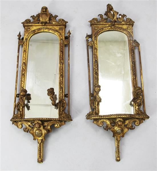 A pair of Victorian gilt gesso girandoles, W.1ft 1in. H.3ft 1in.