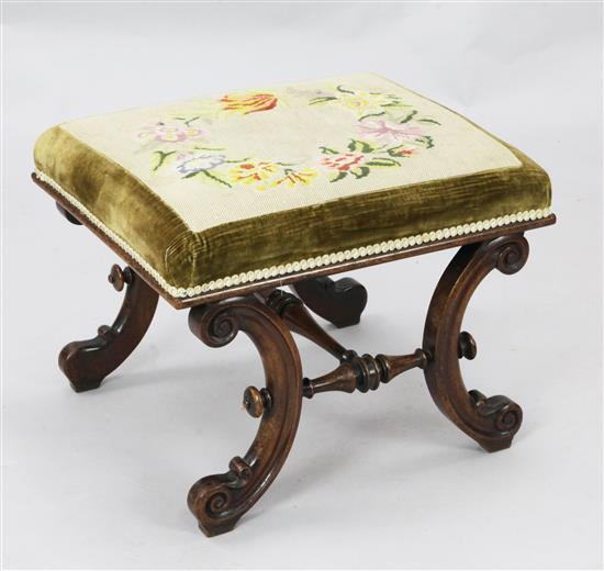 A Victorian mahogany dressing stool, W.1ft 9in.