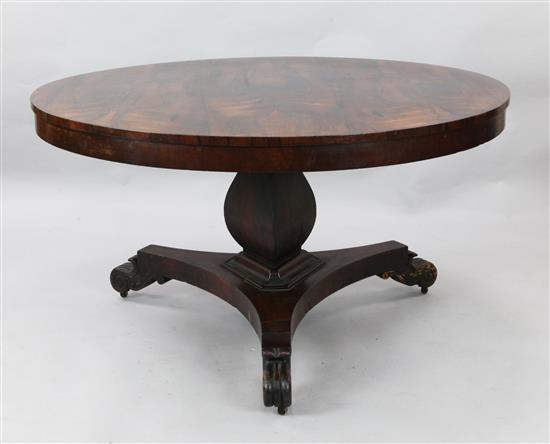 An early Victorian rosewood breakfast table, Diam. 4ft 3in.