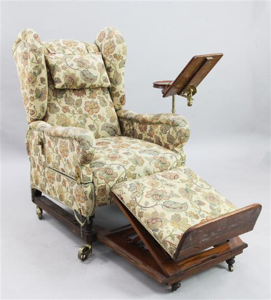An early Victorian brass mounted mahogany and oak reading chair, W.2ft 4in. H.3ft 11in.