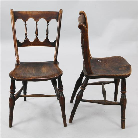 A set of eight early Victorian elm and fruitwood cottage dining chairs, W.1ft 7in. H.2ft 7in.