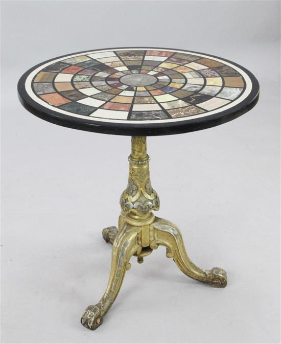 A Victorian carved giltwood tripod table, W.2ft 2in. H.2ft 5in.