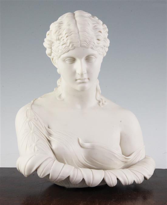 A Victorian parian bust of Clytie, third quarter 19th century, 11.25in.