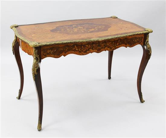 A Victorian ormolu mounted marquetry inlaid kingwood and rosewood centre table, W.3ft 9in. D.2ft 3in. H.2ft 5in.