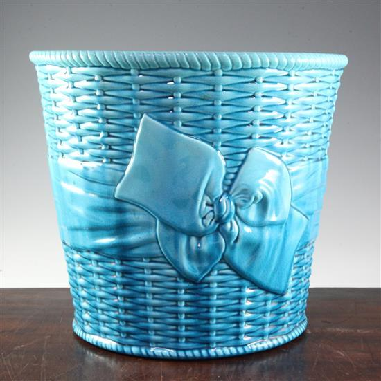 A Mintons turquoise glazed majolica jardiniere, c.1907, height 31.3cm (12.5in.)