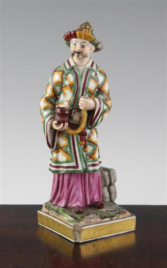 A French porcelain 'Chinaman' pastille burner, mid 19th century, 19.5cm (7.7in.), some losses