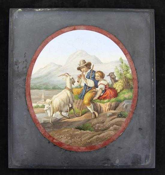 An Italian micro-mosaic plaque depicting peasant goatherds in a mountainous landscape, Rome c.1850, 25.6cm x 23.7cm (10.2in. x 10.3in.)
