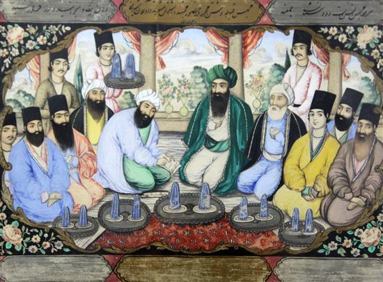 A set of six Persian watercolours of marriage scenes, Qajar dynasty, 19th century, each 19cm x 27cm