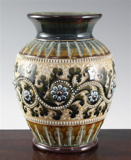 George Tinworth for Doulton Lambeth. A stoneware ovoid vase, height 22.5cm (8.75in.