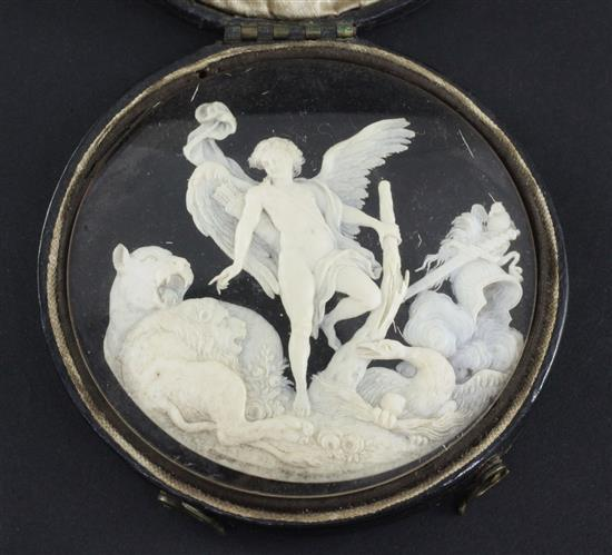A 19th century Continental carved and pierced ivory panel, 3in.