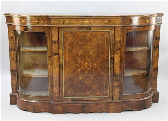 A Victorian marquetry inlaid figured burr walnut credenza, W.5ft 10in. D.1ft 4in. H.3ft 6in.
