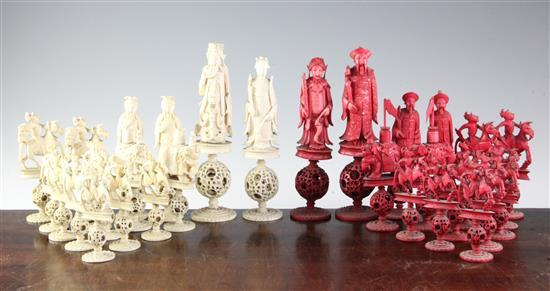A 19th century Canton ivory chess set, kings 7.5in.