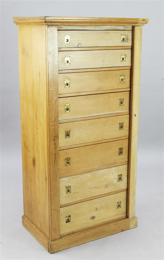 A late Victorian pine collector's chest, W.2ft 3in. D.1ft 5in. H.4ft 6in.